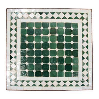 Mosaiktisch carre, grün/weiß, H 45 cm, L 40 cm, B 40 cm