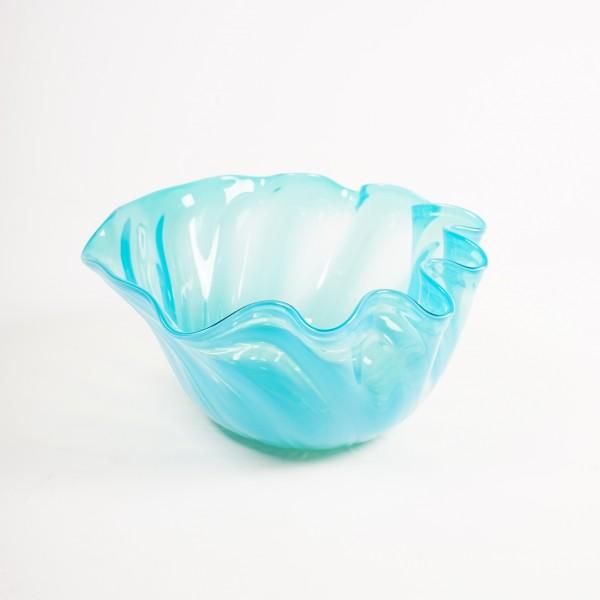 Glasschale, blau, Ø 24-26 cm, H 13 cm