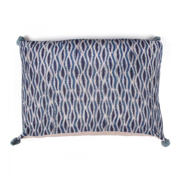Kissen 'Cray', blau, beige, T 40cm, B 60cm