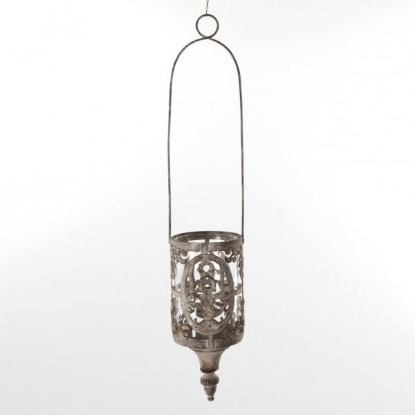Hängewindlicht, antik-grau, H 52 cm, Ø 10 cm
