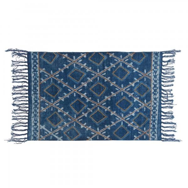 Mini-Rug 'Eluru', weiß, blau, T 60 cm, B 90 cm