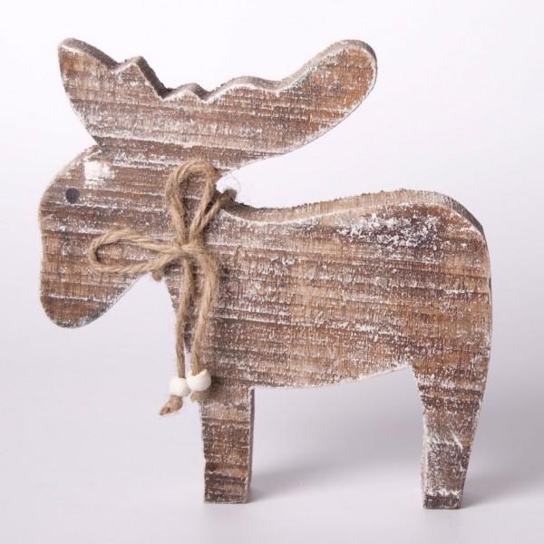 "Elch ""Paul"" aus Holz, braun/weiß, B 20 cm, H 20 cm"
