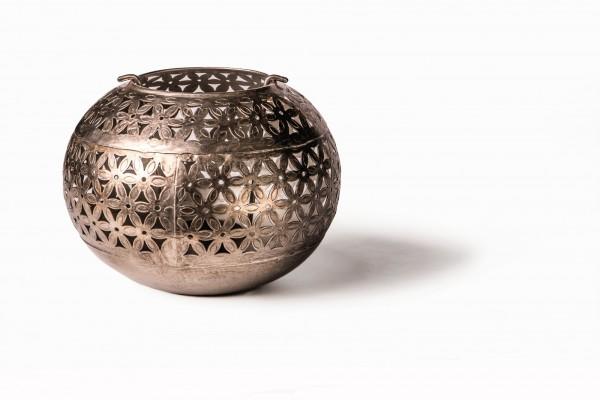 Teelichthalter 'Ball' antik, antikmessing, Ø 16 cm, H 12 cm