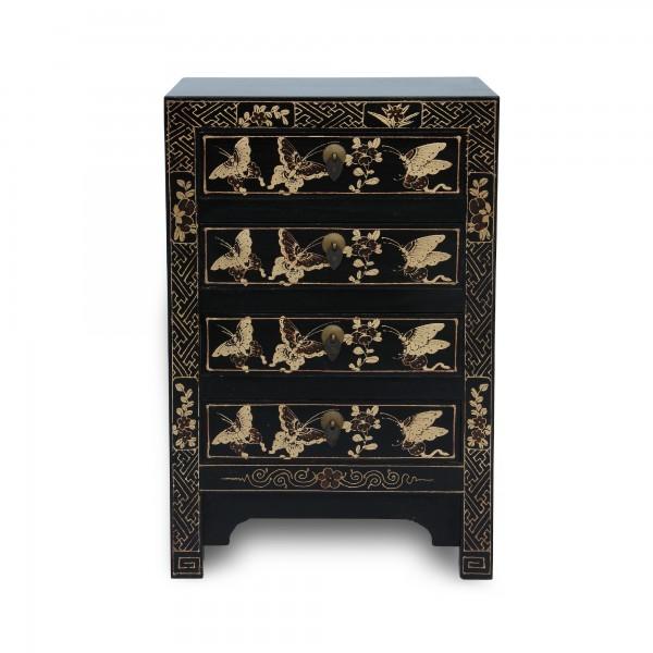 Kommode 'Schmetterling', 4 Schubladen, schwarz, T 32 cm, B 40 cm, H 60 cm