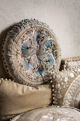 Sitzkissen 'Laya', beige, blau, Ø 55 cm, H 10 cm
