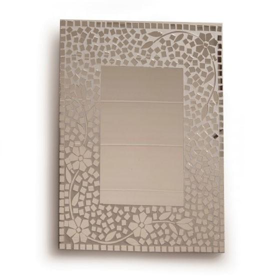 """Glasmosaikspiegel """"Patchwork Blume"""", handgefertigt, B 40 cm, H 60 cm"""