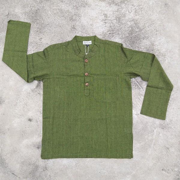 Langarmshirt mit Knopfleiste 'Kura' XL, grün, T 77 cm, B 64 cm