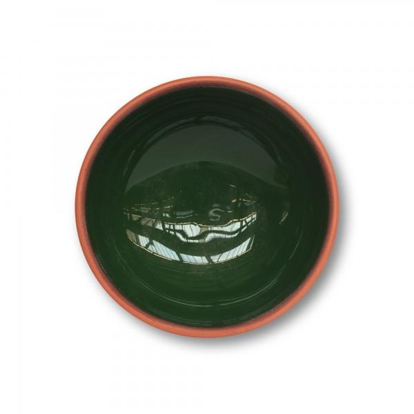 Schüssel Terrakotta, natur, dunkelgrün, Ø 11 cm, H 5 cm