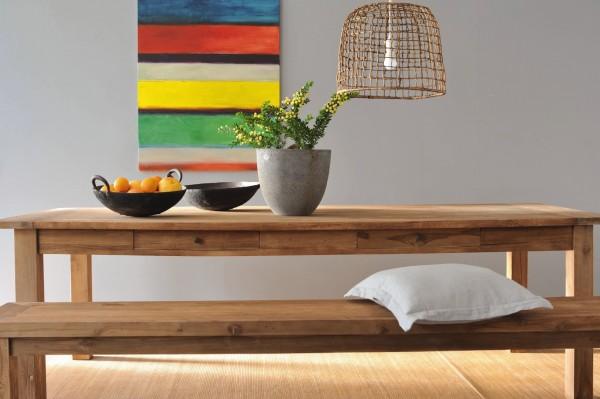 Holztisch aus recyceltem Teak mit Schublade, natur, T 140 cm, B 80 cm, H 79 cm