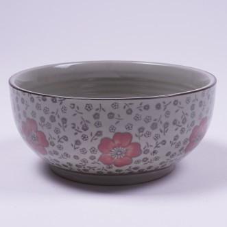 """Müslischale """"Rote Blumen"""", handbemalt, rot/weiß, Ø 17 cm, H 8 cm"""