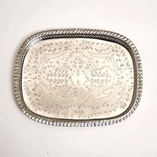 Marokkanisches Teetablett, silber, L 35 cm, B 45 cm, H 3 cm