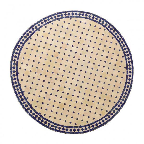 runder Tische, beige/blau, H 75 cm, Ø 120 cm