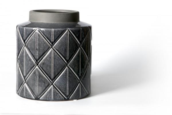 Vase, aus Steingut, dunkelgrau, Ø 24 cm, H 26 cm