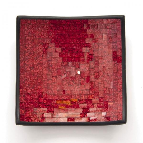 "Glasmosaikschüssel ""Cherry"", rot, L 20 cm, B 20 cm"