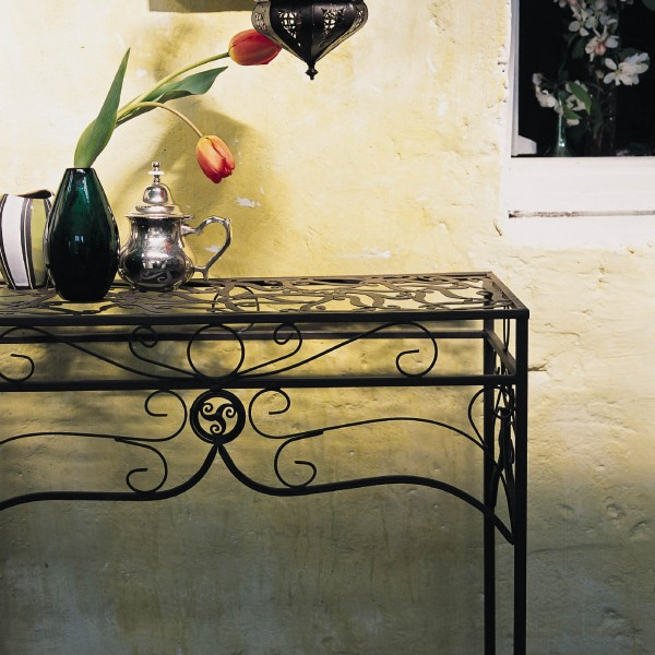 """Tisch """"Juliette"""" aus Schmiedeeisen, antik-braun, L 22 cm, B 56 cm, H 61 cm"""