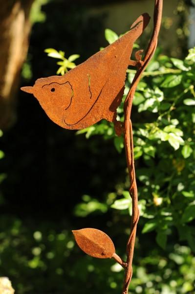 Gartenstecker 'Kleiber', rostbraun, T 1 cm, B 16 cm, H 90 cm