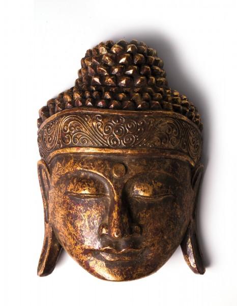 Buddha-Maske, antikrot, T 32 cm, B 22 cm, H 10 cm