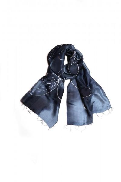 Seidenschal mit Batikdruck, blau/grau, L 175 cm, B 40 cm