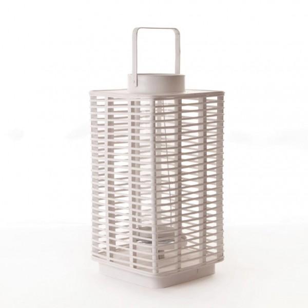 """Bambuslaterne """"New York"""", weiß, L 30 cm, B 30 cm, H 60 cm"""