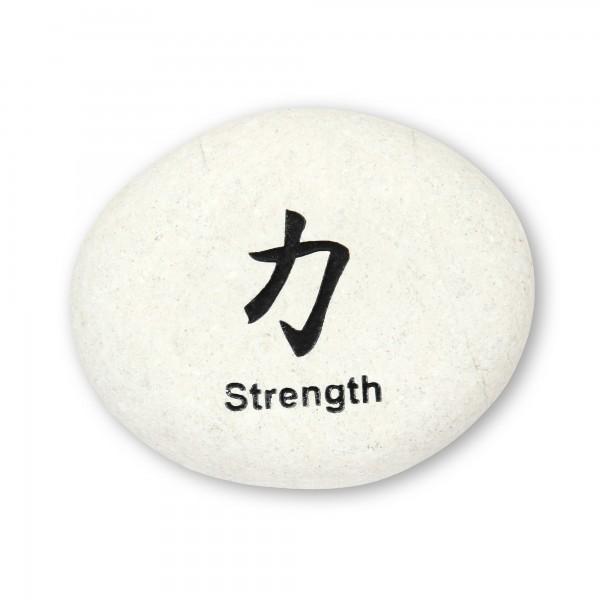 Flusskieselstein 'Strength', weiß, T 8 cm, B 8 cm