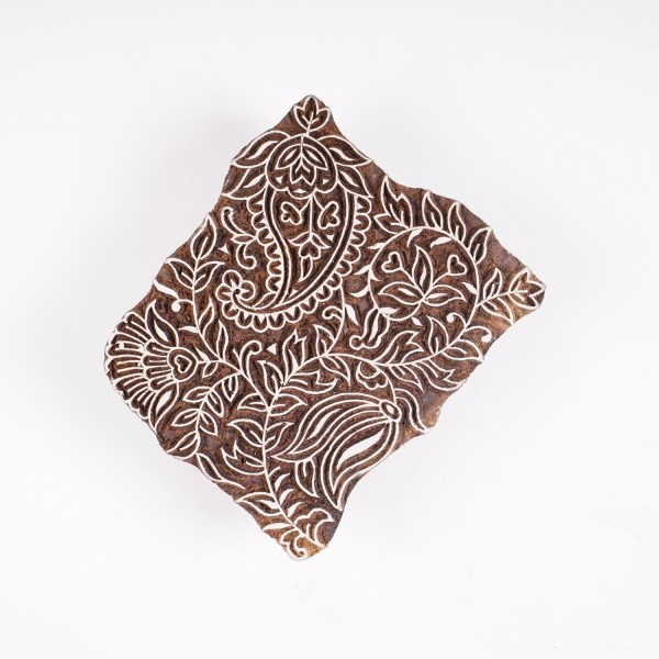 "Holzstempel ""Paisley"", handgeschnitzt, B 12 cm, H 14,5 cm"