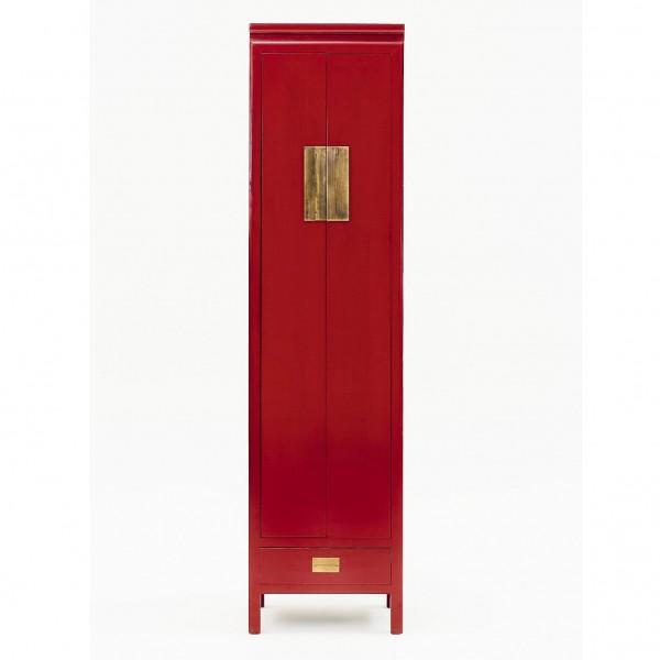 Chinesischer Lackschrank mit 2 Türen und 1 Schublade, H 240 cm, B 63 cm, T 48 cm