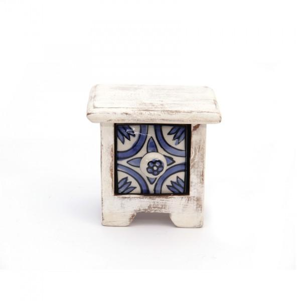 Schmucktruhe mit Schublade, weiß/hellblau, L 10 cm, B 10 cm, H 9 cm
