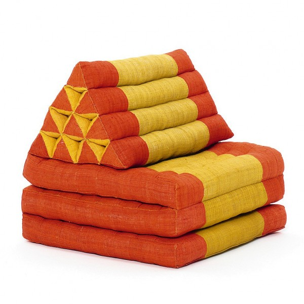 Triangelkissen mit Kapok-Füllung, orange/creme, L 200 cm, B 60 cm