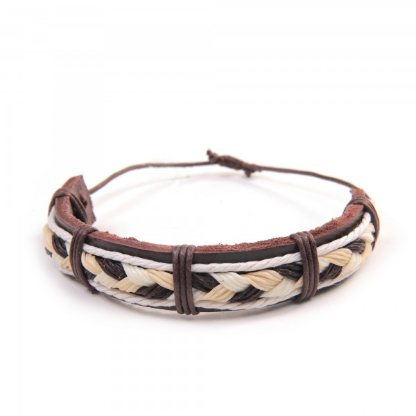"Armband ""Victor"", aus Leder, braun/beige"