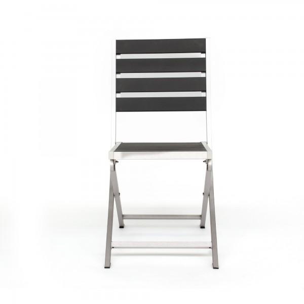Alu-Stuhl 'Clipper', aluminiumgrau, schwarz, T 60 cm, B 45 cm, H 88 cm