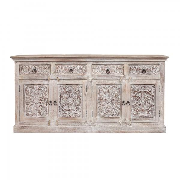 Sideboard 'Germois' gebürstet, natur, weiß gekälkt, T 40 cm, B 178 cm, H 88 cm