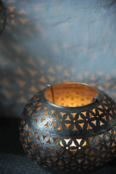 Teelichthalter 'Ball' antik, antikmessing, Ø 12 cm, H 10 cm