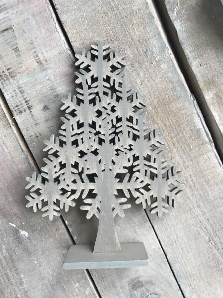 Holzbaum mit Schneeflockenkleid, braun, T 16 cm, B 4,5 cm, H 21,5 cm