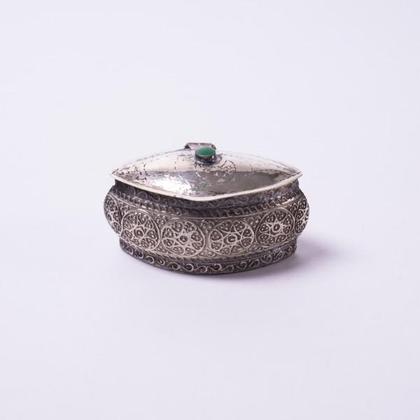 "Pillendose/Schmuckdose ""Smaragd"", handgefertigt, silber, L 6 cm, B 3,5 cm"