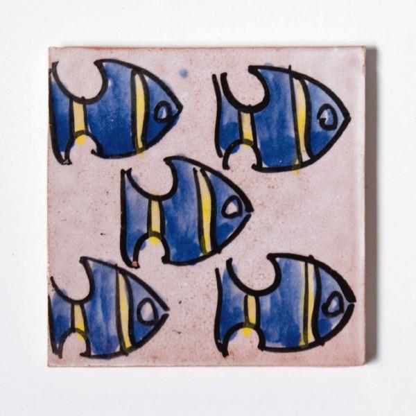handglasierte Kachel 'skalar', altrosa/lila, L 10 cm, B 10 cm, H 1cm
